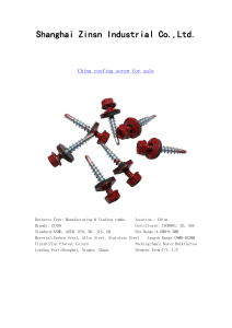 China Roofing Screw Distributor